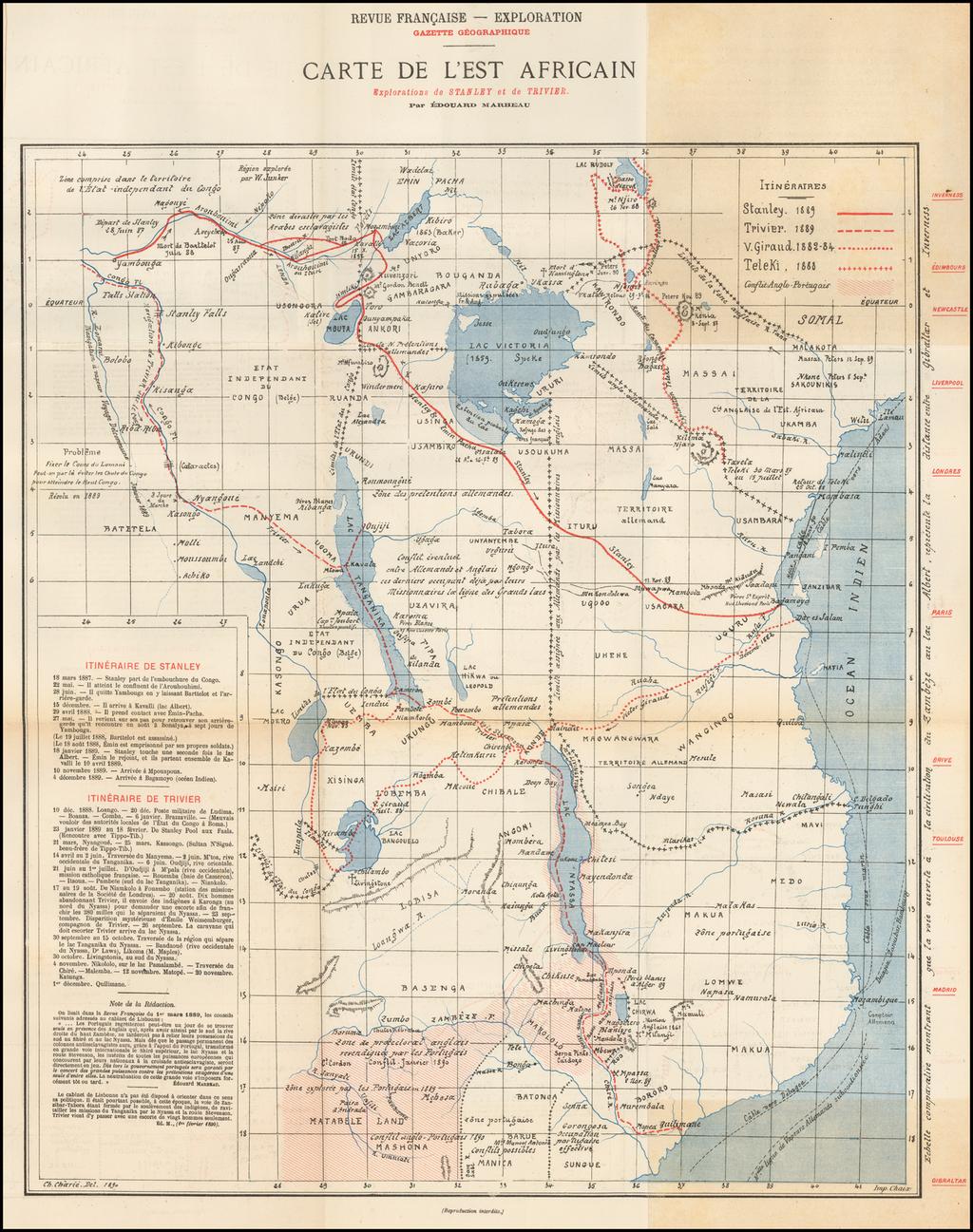 Carte de L'Est Africain Explorations de Stanley et de Trivier . . .  By Eduoard Marbeau