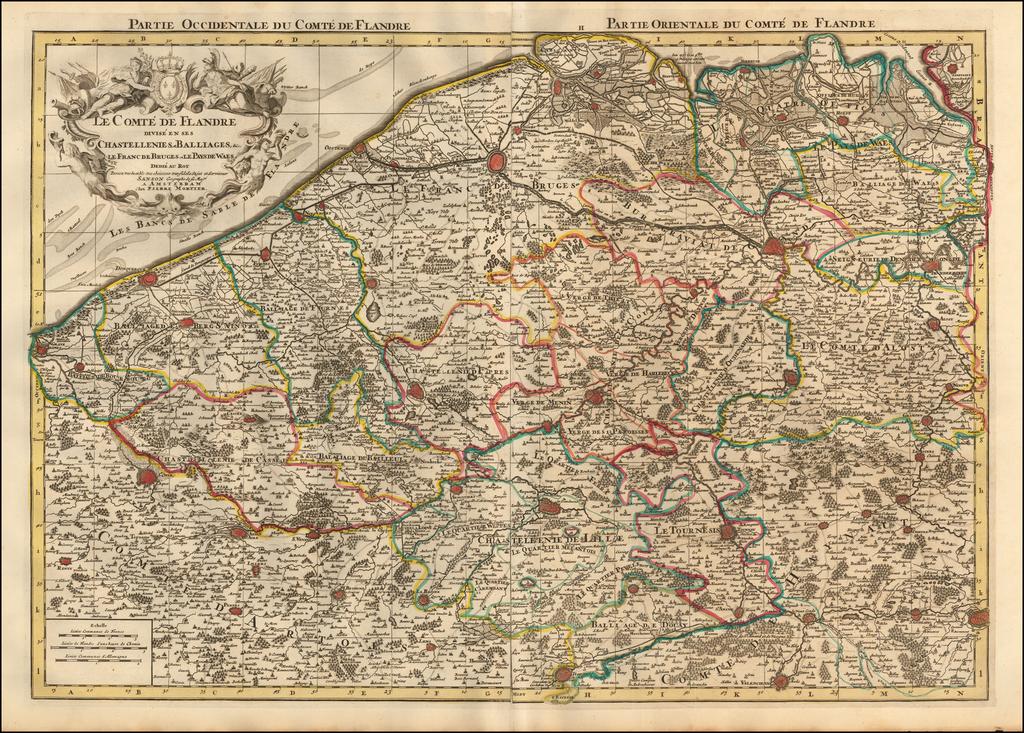 Le Comte de Flandre divise en ses Chastellenies, et Balliages, &c. Le Franc de Bruges et le Pays de Waes dedie au Roy... (with 2 sheets of Town Plans and Index sheet) By Pieter Mortier