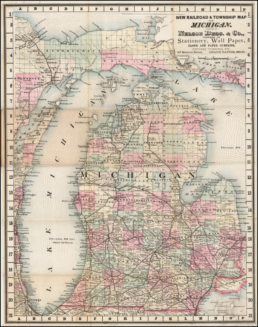 New Railroad & Township Map of MIchigan.  Published By Nelson Bros. & Co., Jobbers of Staionery, Wall Paper, Cloth and Paper Curtain . . .  Grand Rapids, Mich. By