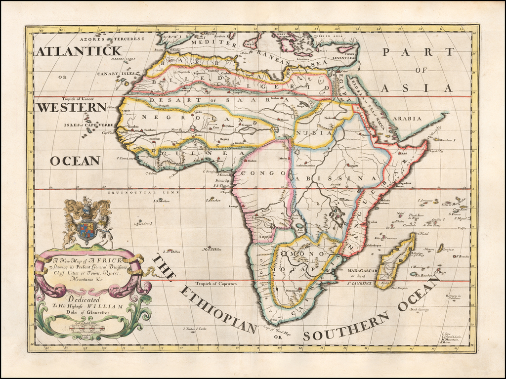 A New Map of Africk, Shewing its Present Divisions, Chief Cities & Towns; Rivers, Mountains &c. Dedicated to his Highness William Duke of Gloucester By Edward Wells