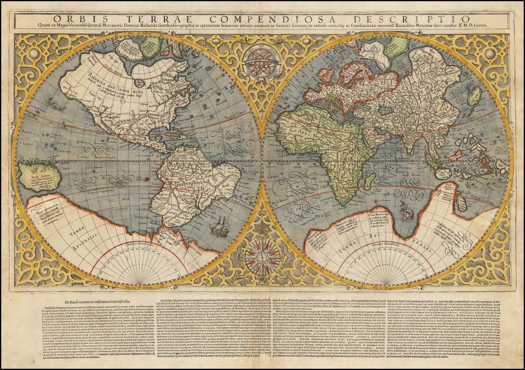 Orbis Terrae Compendiosa Descriptio Quam ex Magna Universali Mercatoris . . . MDLXXXVII By Rumold Mercator
