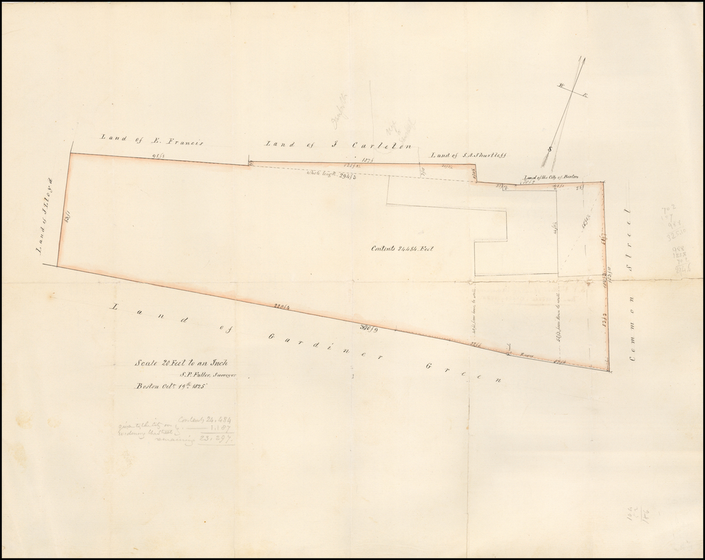 S. P. Fuller's Plan of Mansion House Estate, Octo. 19, 1825   (Mansion House Estate --Boston Manuscript Survey - Winthrop Square, etc. - Common Street) By S. P. Fuller