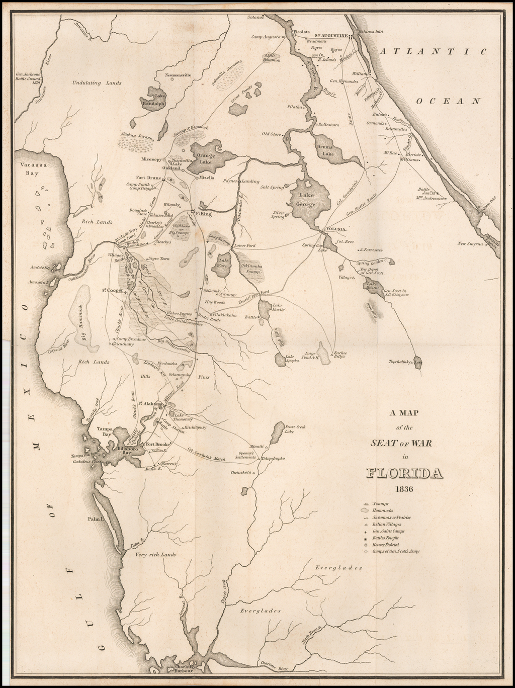 Map 0f Florida.A Map Of The Seat Of War In Florida 1836 Barry Lawrence Ruderman