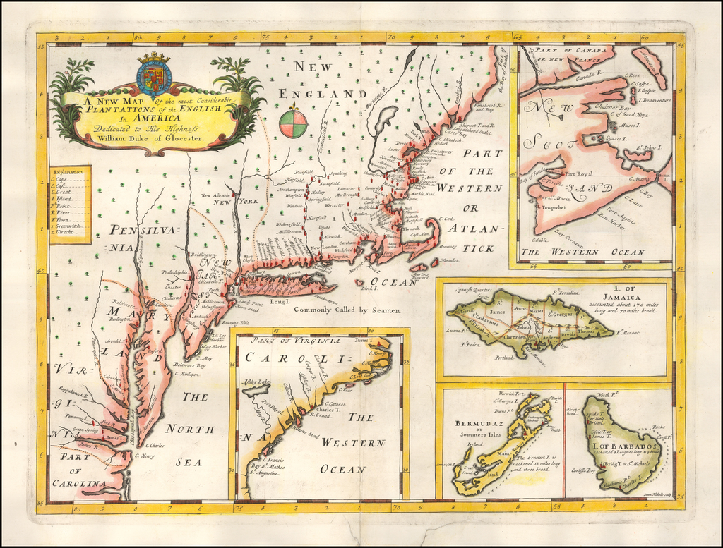 A New Map of the most Considerable Plantations of the English In America Dedicated to His Highness William Duke of Glocester. By Edward Wells
