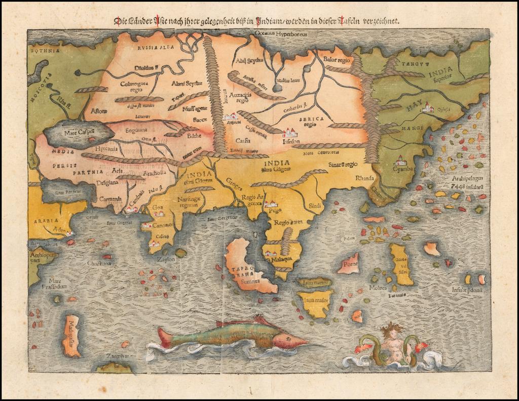 Die Lander Asie nach ihrer gelegenheit bisz in Indiam werden in dieser Tafeln verzeichnet By Sebastian Münster