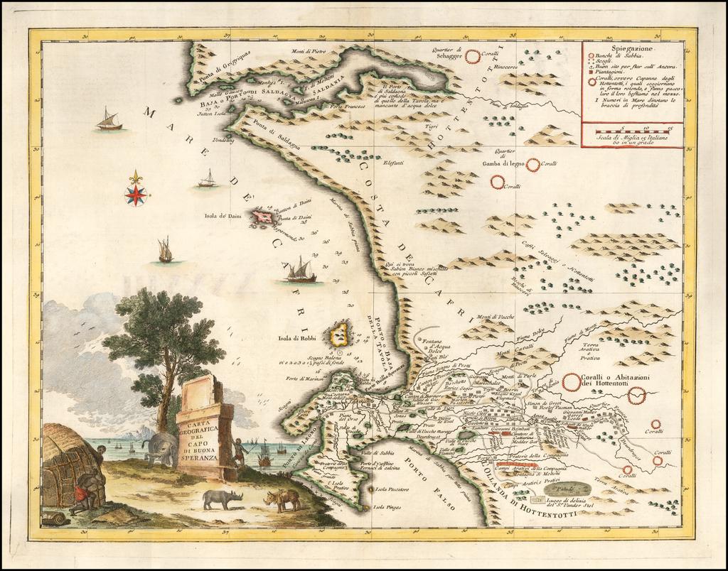 (Cape of Good Hope)  Carta Geografica Del Capo Di Buona Speranza By Giambattista Albrizzi