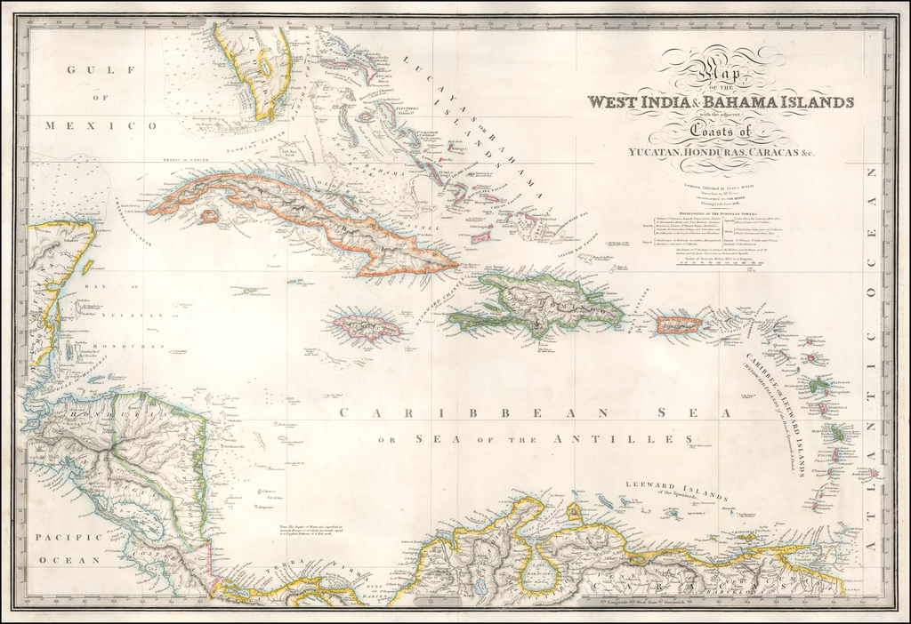 Map of the West India & Bahama Islands with the adjacent Coasts of Yucatan, Honduras, Caracas &c. . . .  1838 By James Wyld