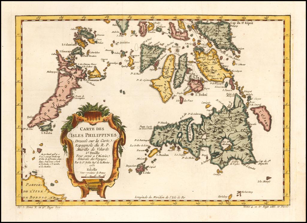 Carte Des Isles Philippines Dressee sur la Carte Espagnole du R.P. Murillo de Velarde 2e. Feuille By Jacques Nicolas Bellin