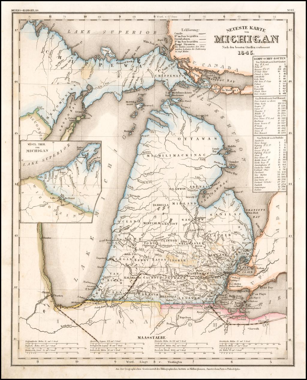 Neueste Karte von Michigan Nach den bessten Quellen verbessert 1845. By Joseph Meyer
