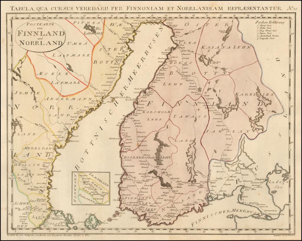Postkarte von Finnland und Norrland /  Tabula qua Curus Veredarii Per Pinnoniame et Norrlandiam By Franz Johann Joseph von Reilly