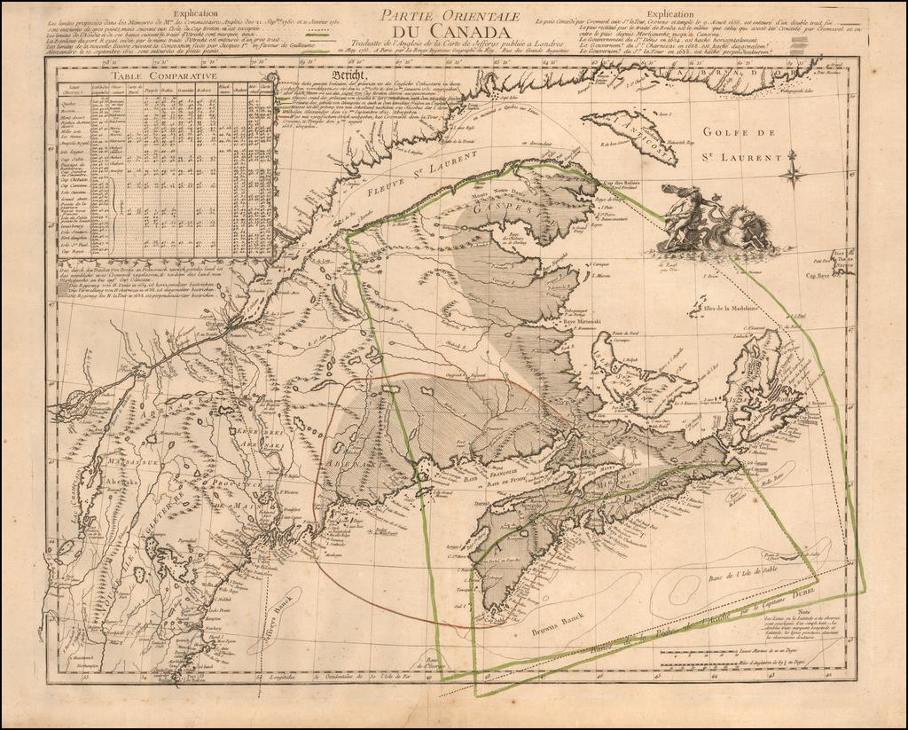 Partie Orientale Du Canada Traduitte de l'Anglois de la Carte de Jefferys publiee a Londres en May 1755 . . .  By Georges Louis Le Rouge