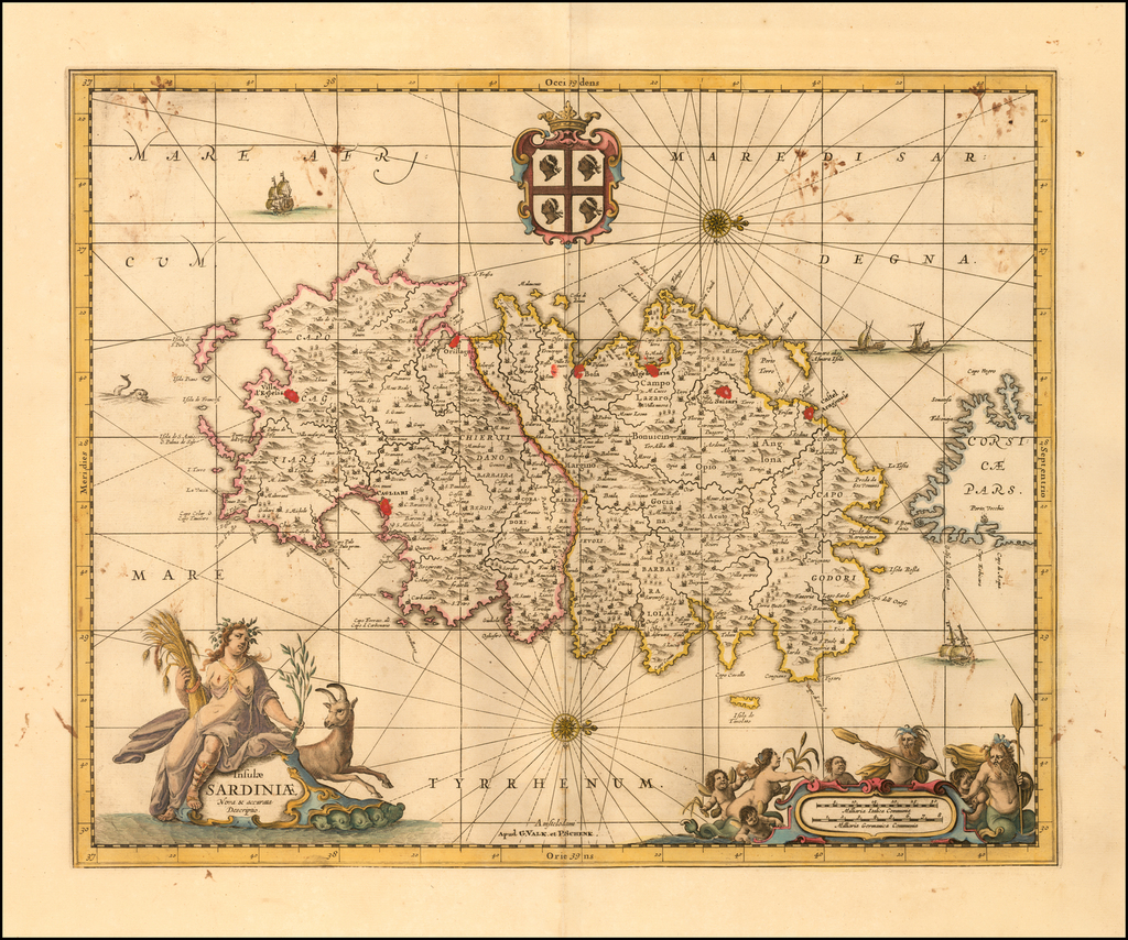 Insulae Sardiniae Nova & accurata Descriptio By Peter Schenk  &  Gerard Valk