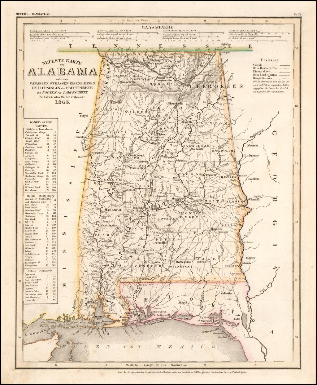 Neueste Karte von Alabama . . . 1845 By Joseph Meyer  &  Carl Radefeld