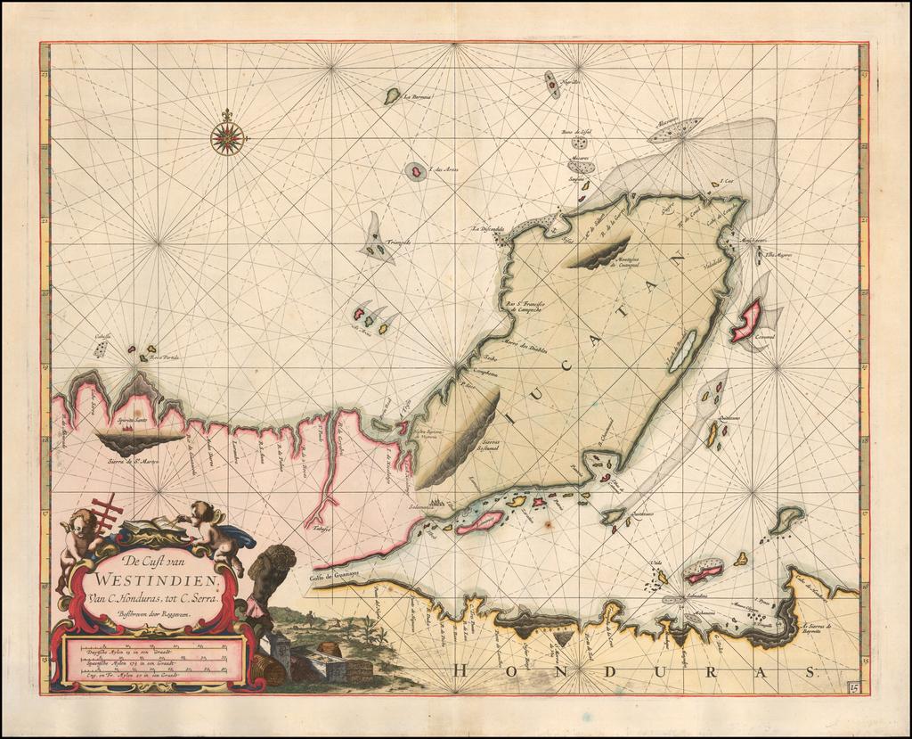 (Yucatan) De Cust van Westindien Van C. Honduras, tot C. Serra By Arent Roggeveen