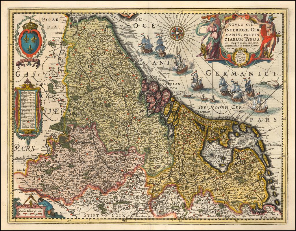 Novus XVII Inferioris Germaniae Provinciarum Typus de integro multis in coic emendatus a Petro Kaerio Anno 1617 By Pieter van den Keere