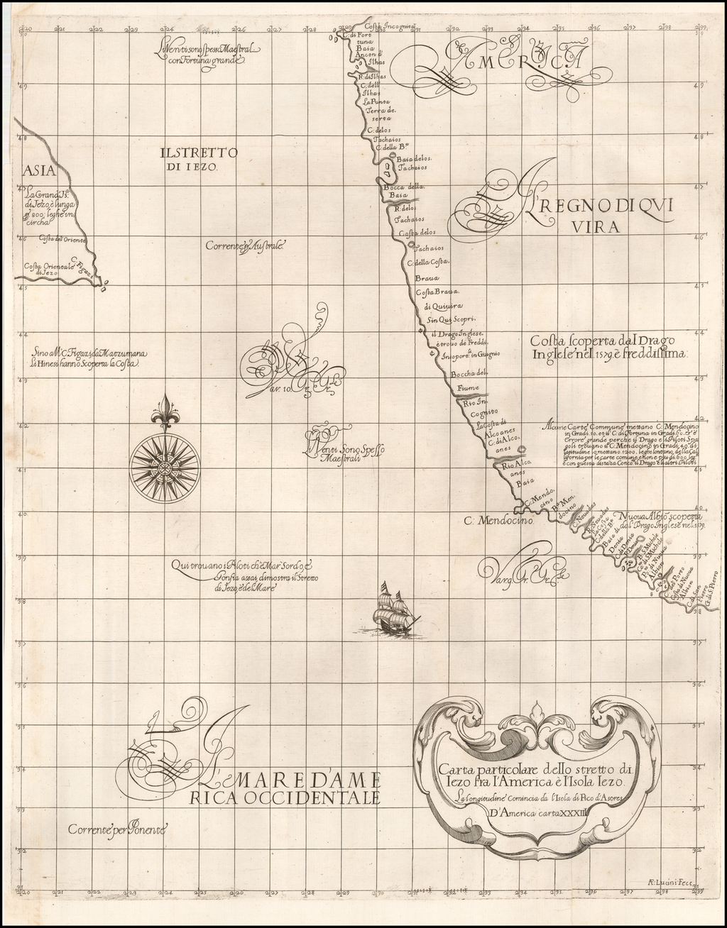 Carta particolare dello stretto di Iezo fra l'America e I'Isola Iezo  . . . D'America Carta XXXIII By Robert Dudley