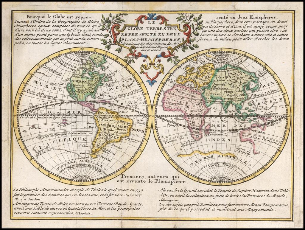 Le Globe Terrestre Represente En Deux Plans-Hemispheres . .  1729 By Jacques Chiquet