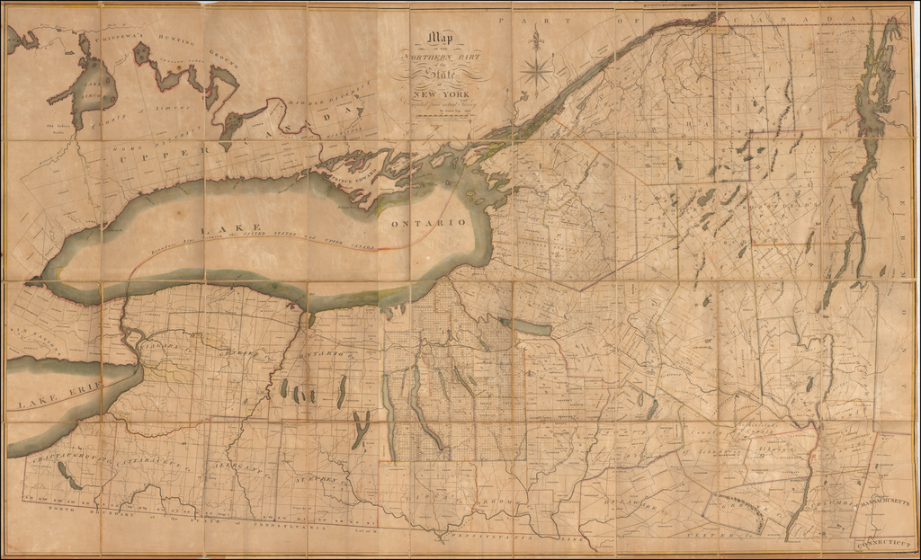 Map of the Northern Part of the State of New York Compiled from actual Survey By Amos Lay 1812 By Amos Lay