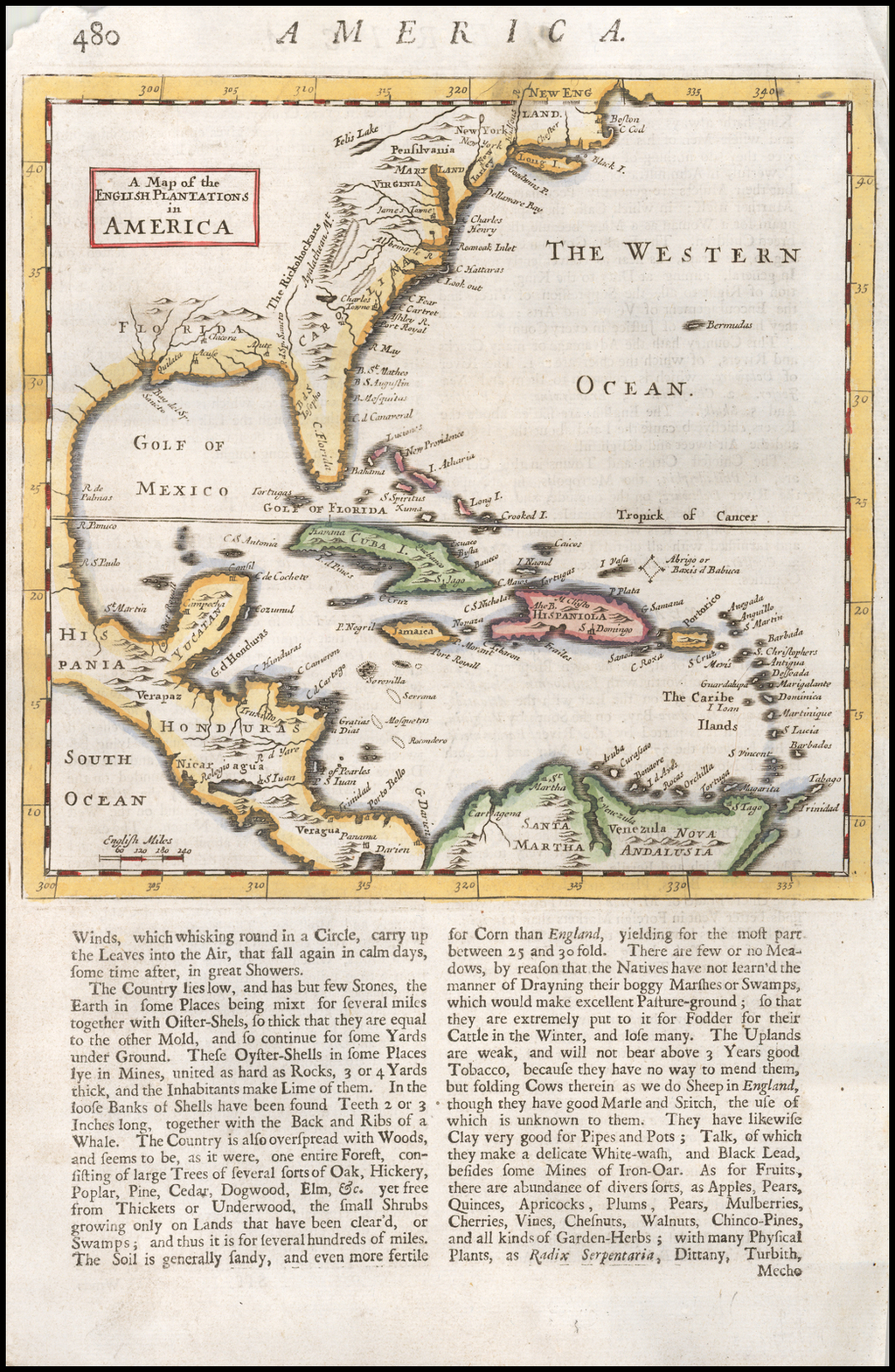A Map of the English Plantations in America By Herman Moll