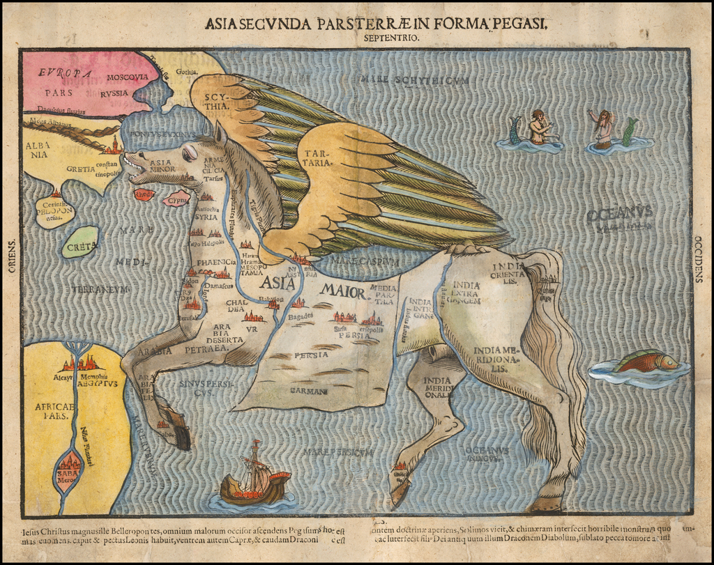Asia Secunda Pars Terrae in Forma Pegasir [Asia in the Form of Pegasus] By Heinrich Bunting