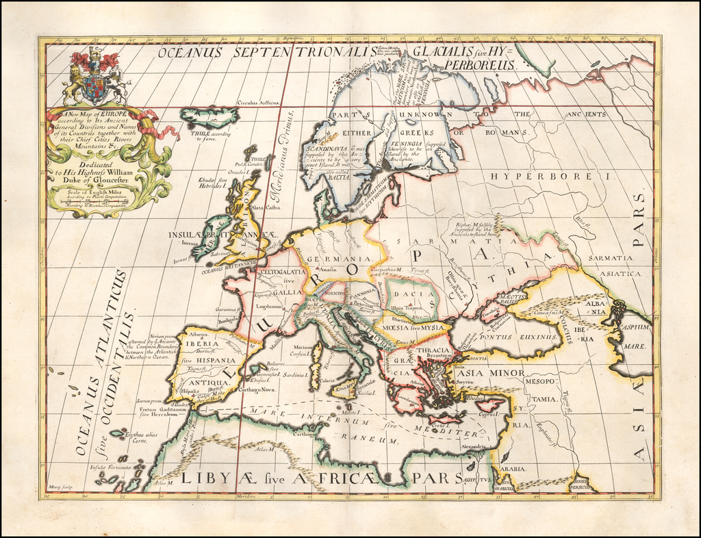 A New Map of Europe according to its Ancient General Divisions and Names…Capital Cities, Chief Rivers, Mountains &c...Dedicated to His Highness William Duke of Glocester By Edward Wells