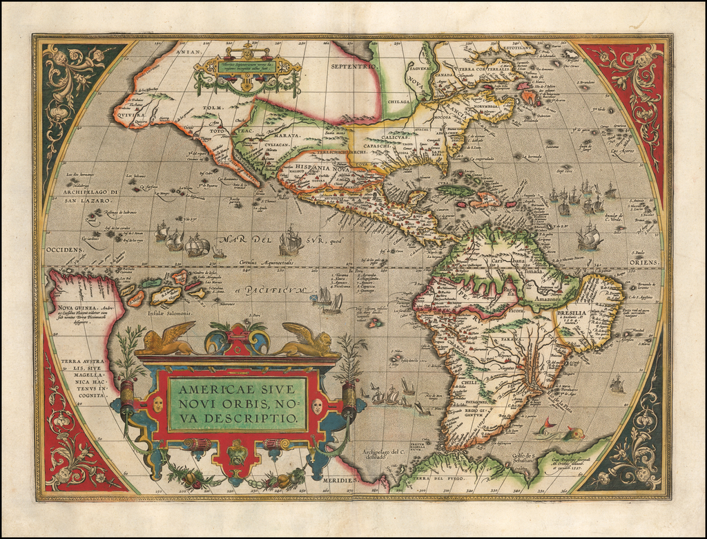 Vintage 1970/'s 16th Century Americae Sive Novi Orbis Descriptio Map Foil Print