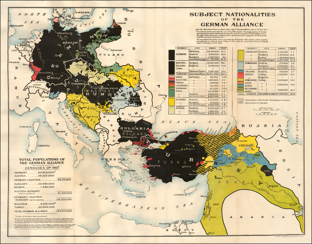 Subject Nationalities of the German Alliance By Edward Stanford