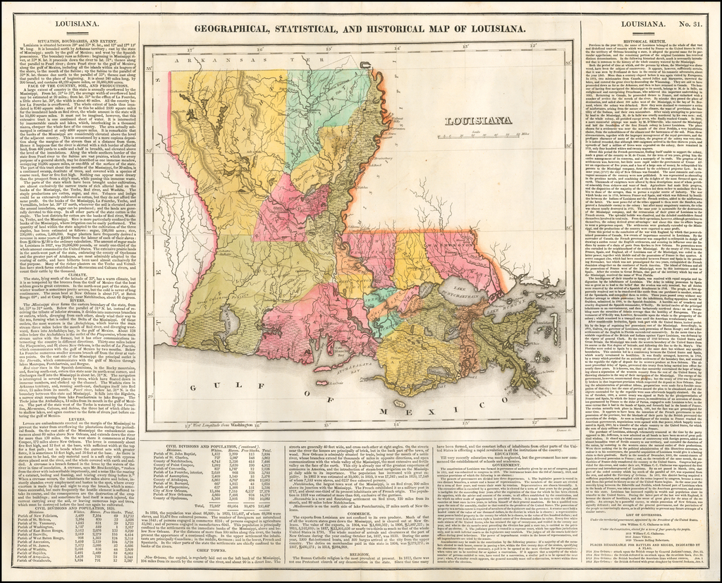 Geographical, Statistical and Historical Map of Louisiana By Henry Charles Carey  &  Isaac Lea