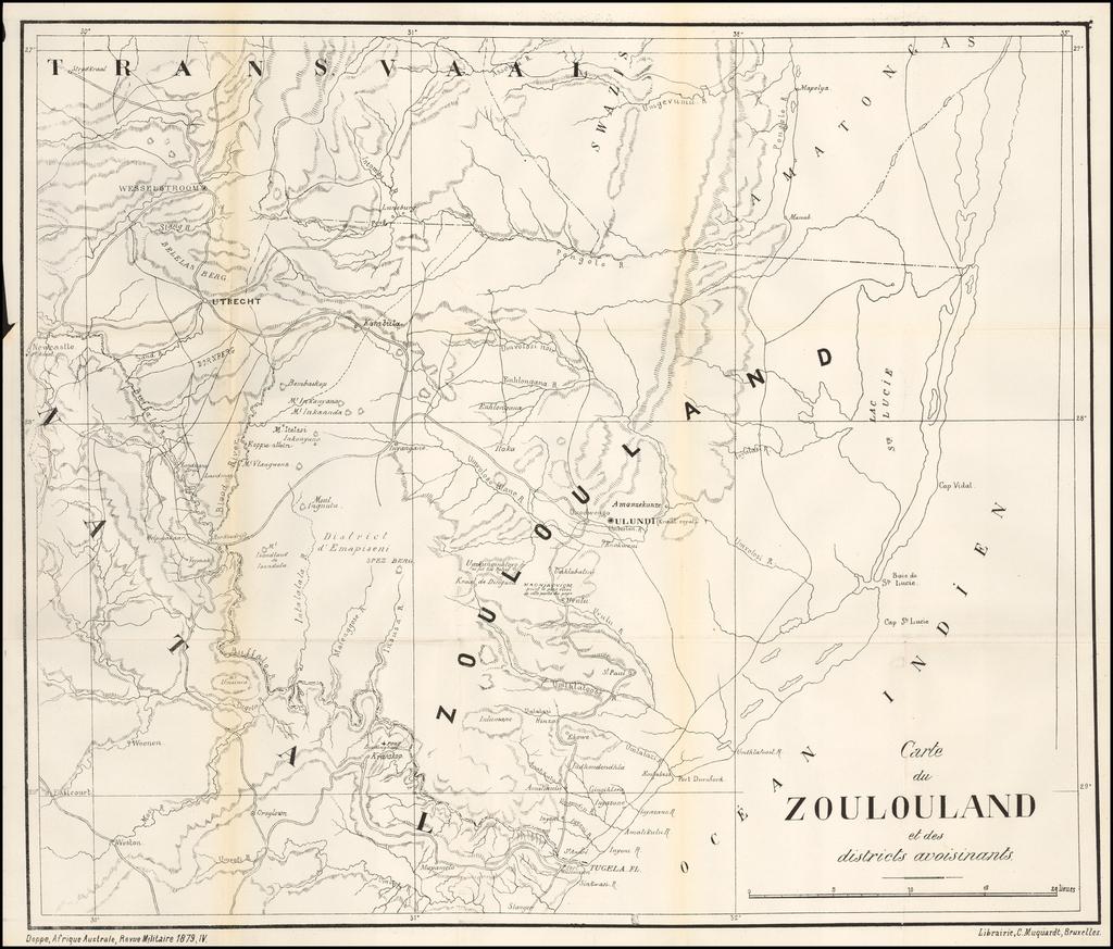 Carte du Zoulouland et des districts avoisinants By Revue Militaire