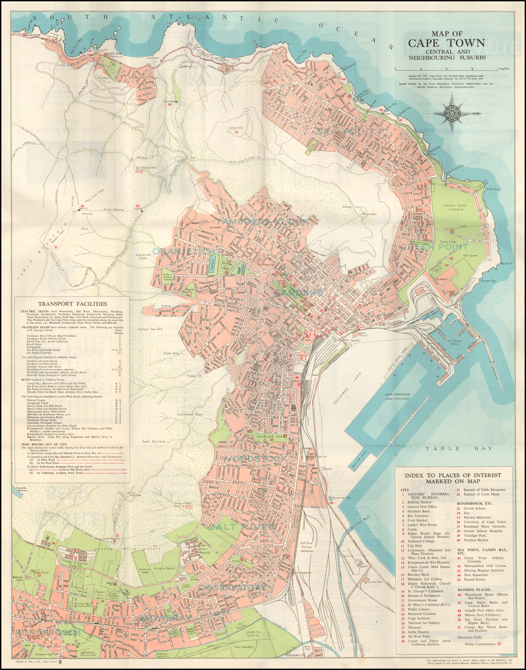 Map of Cape Town Central and Neighbouring Suburbs . . . 1939 ...