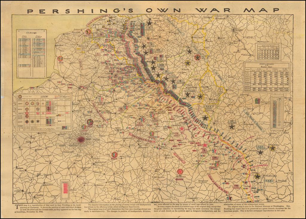 Pershing's Own War Map By Chicago Tribune