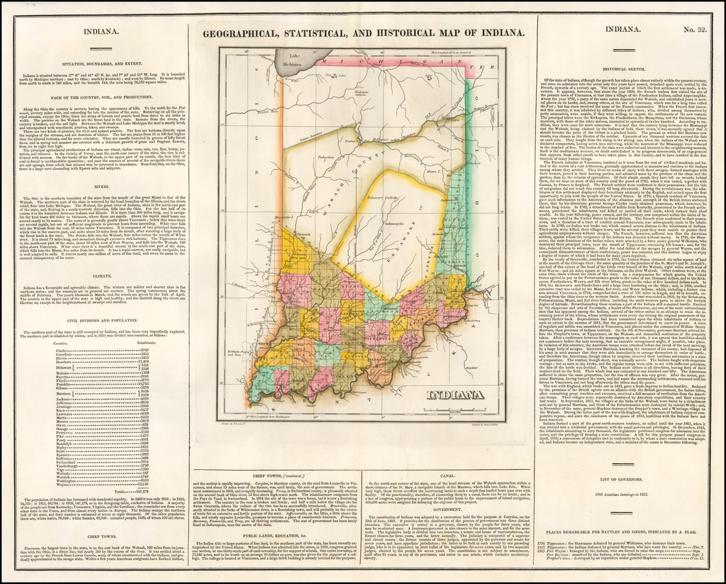 Geographical, Statistical and Historical Map of Indiana By Henry Charles Carey  &  Isaac Lea