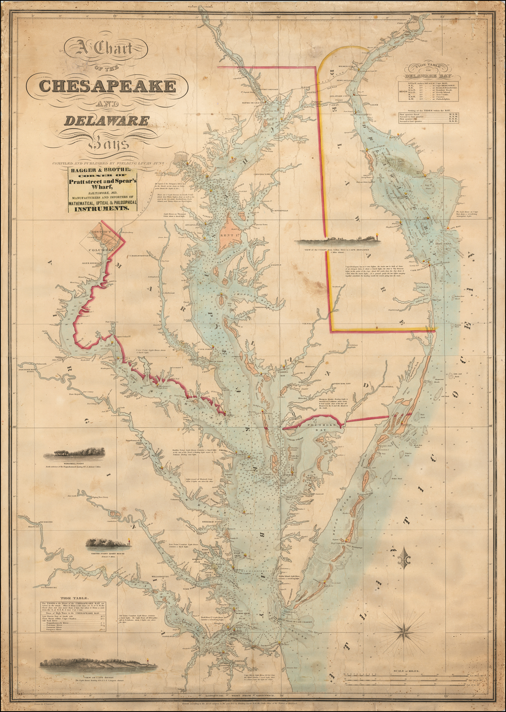 A Chart of the Chesapeake and Delaware Bays.  Compiled and Published By Fielding Lucas Junr. By Fielding Lucas Jr.