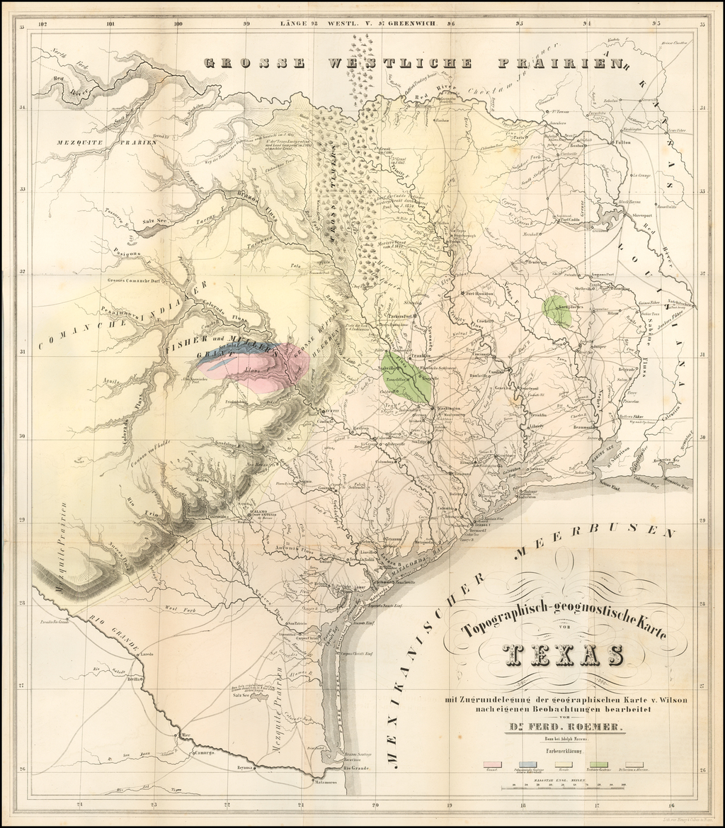 Texas and Rare Books Map By Ferdinand Roemer