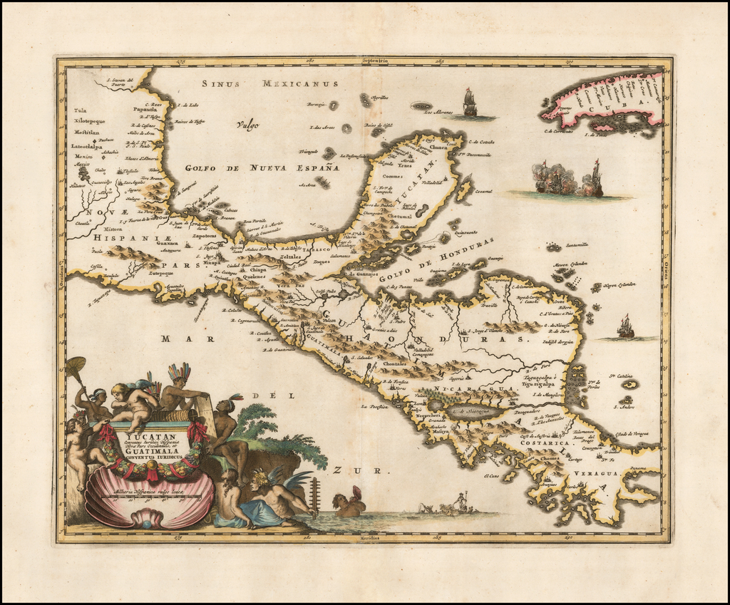 Yucatan Conventus Iuridici Hispaniae Novae Pars Occidenalis, et Guatimala Conventus Iuridicus  By John Ogilby