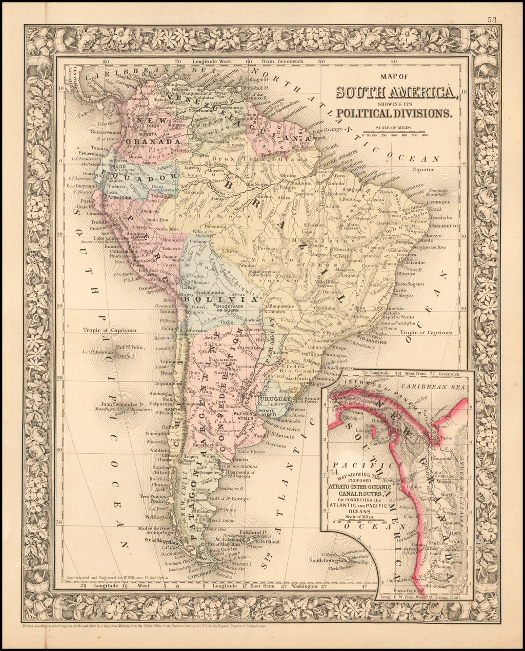Map of South America, Showing Its Political Divisions By Samuel Augustus Mitchell Jr.