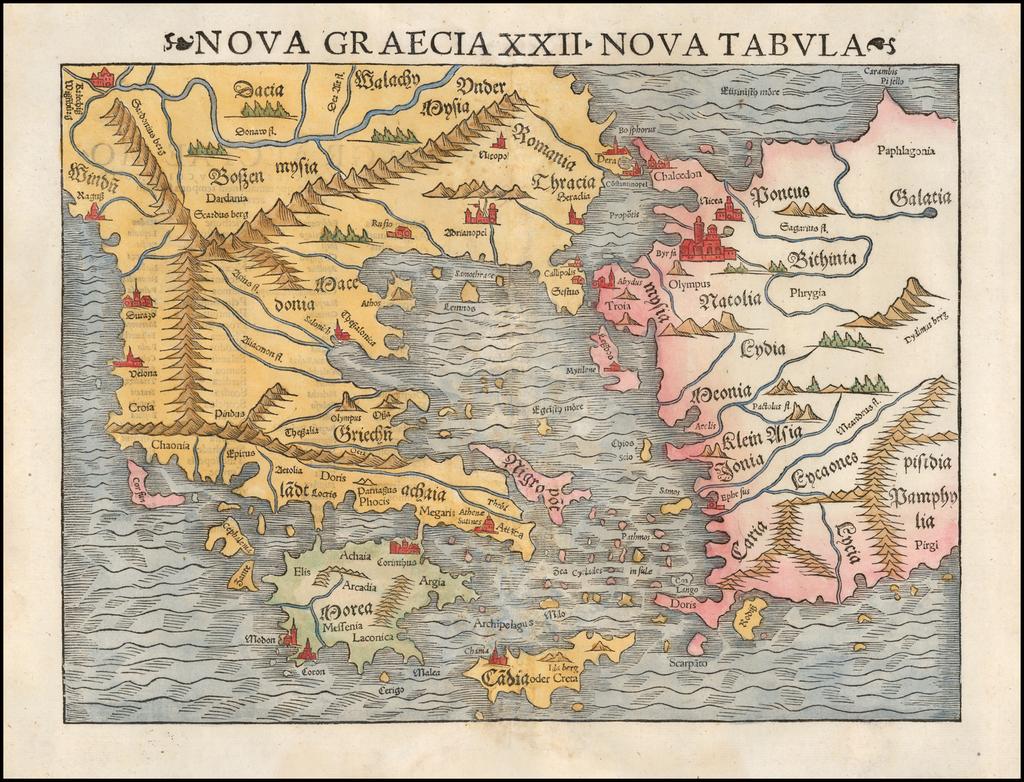Nova Graecia XXII Nova Tabula By Sebastian Münster