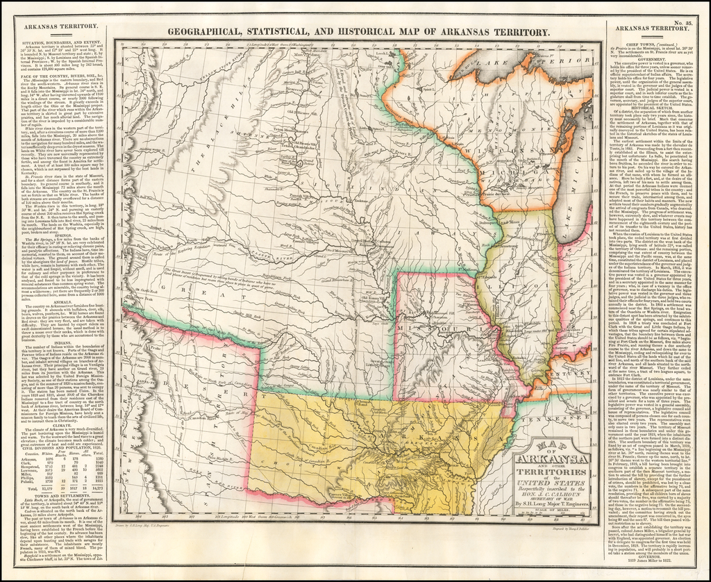 Geographical, Statistical and Historical Map of Arkansas Territory  By Henry Charles Carey  &  Isaac Lea
