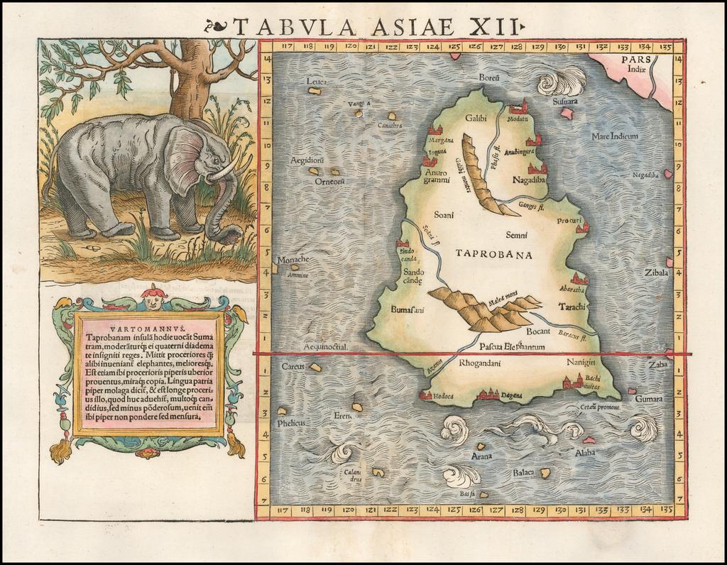 Tabula Asiae XII [Sri Lanka -- with Elephant] By Sebastian Münster