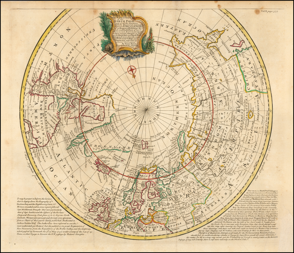 A Correct Draught of the North Pole and all the Countries hitherto Discovered . . . Exhibiting the most remarkable Tracts of our English Navigators &c. in their several attempts to find out the North East and North West Passages . . .  By Emanuel Bowen