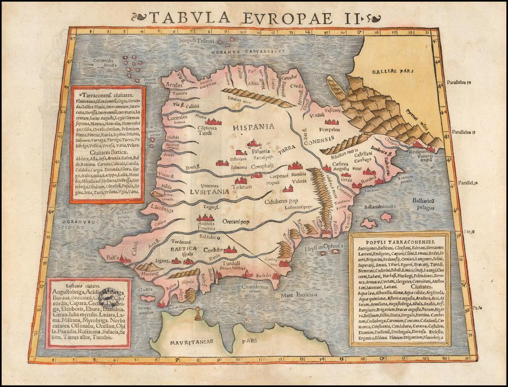 Tabula Europae II  [Spain & Portugal]   By Sebastian Münster