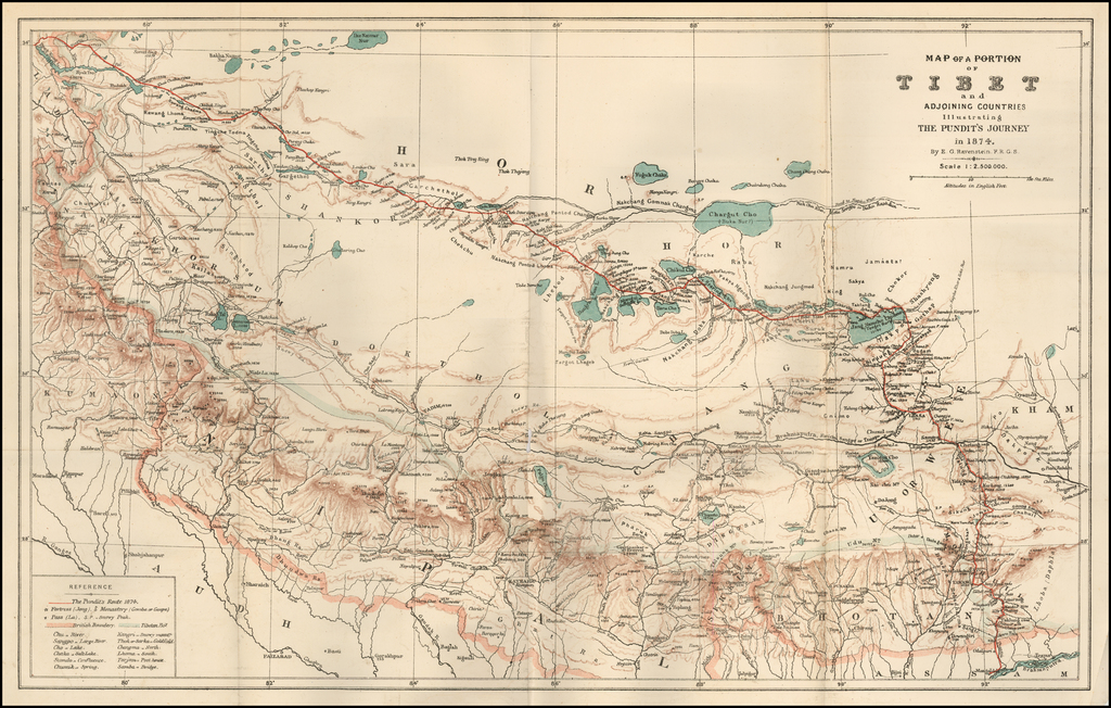 Map of a Portion of Tibet and Adjoining Countries Illustrating Countries The Pundit's Journey in 1847.  By E.G. Ravenstein.  F.R.G.S. (with accompanying text) By