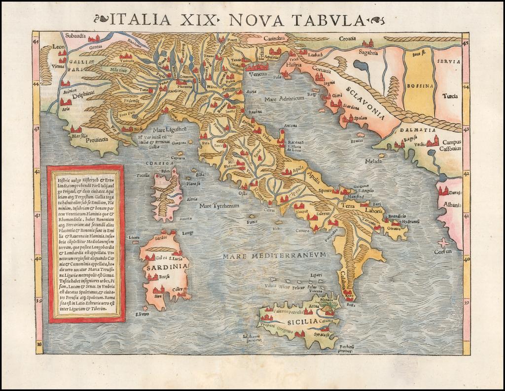 Italia XIX Nova Tabula By Sebastian Münster