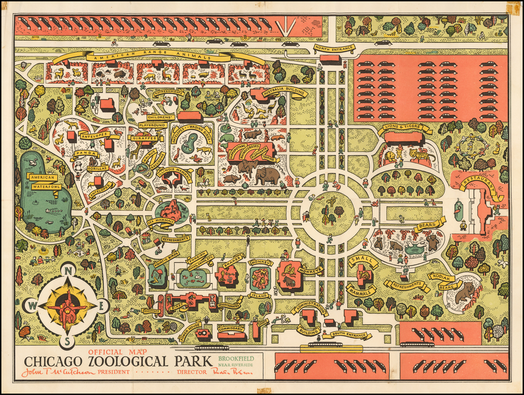 Official Map Chicago Zoological Park By Anonymous