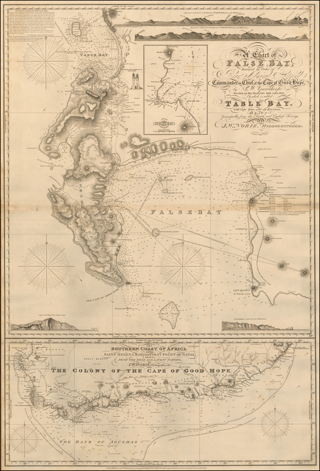 A Chart of False Bay Surveyed by Order of Rear Admiral Stopford, Commander in Chief at the Cape of Good Hope, by P. W. Gawthorpe, Master of His Majesty's Ship Lion, 1812; to which is added Table Bay, with Cape Town and Its Environs . . .  Corrected to 1853 By John William Norie