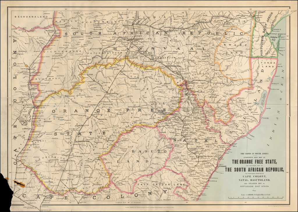 The Crisis in South Africa -- Stanford's New Map of The Orange Free State, The Southern Part of The South African Republic, The Northern Frontier of Cape Colony, Natal, Basutoland, and Delagoa Bay in Portuguese East Africa 1899 By Edward Stanford