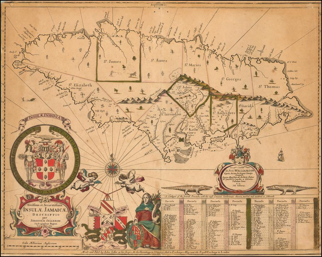 Novissima et Accuratissima Insulae Jamaicae.  Descriptio per Johannem Sellerum . . .  By John Seller
