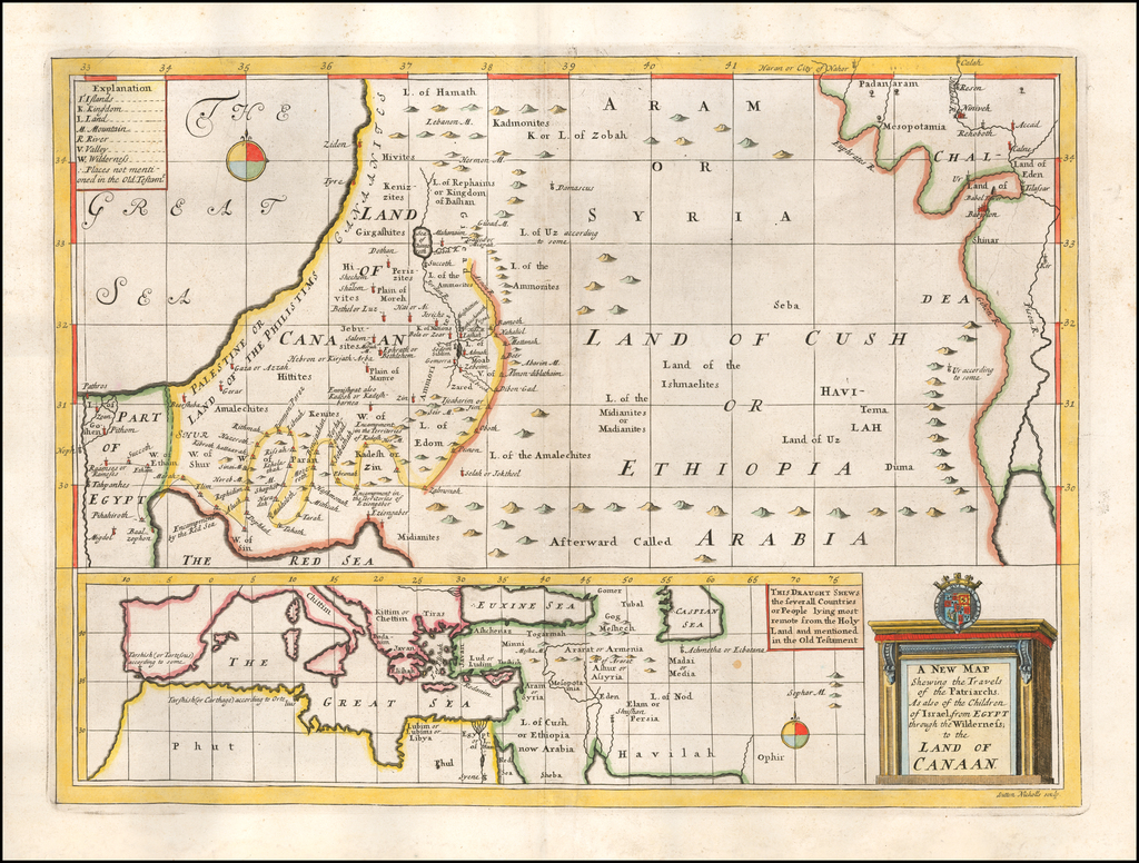A New Map Shewing the Travels of the Patriarchs. As also of the Children of Israel, from Egypt whrough the Wilderness, to the Land of Canaan. By Edward Wells
