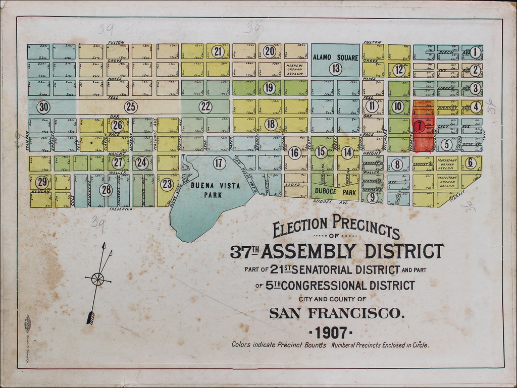 Election Precincts of 37th Assembly District Part of 21st Senatorial District and Part of 5th Congressional District City and County of San Francisco 1907  By Brown & Power