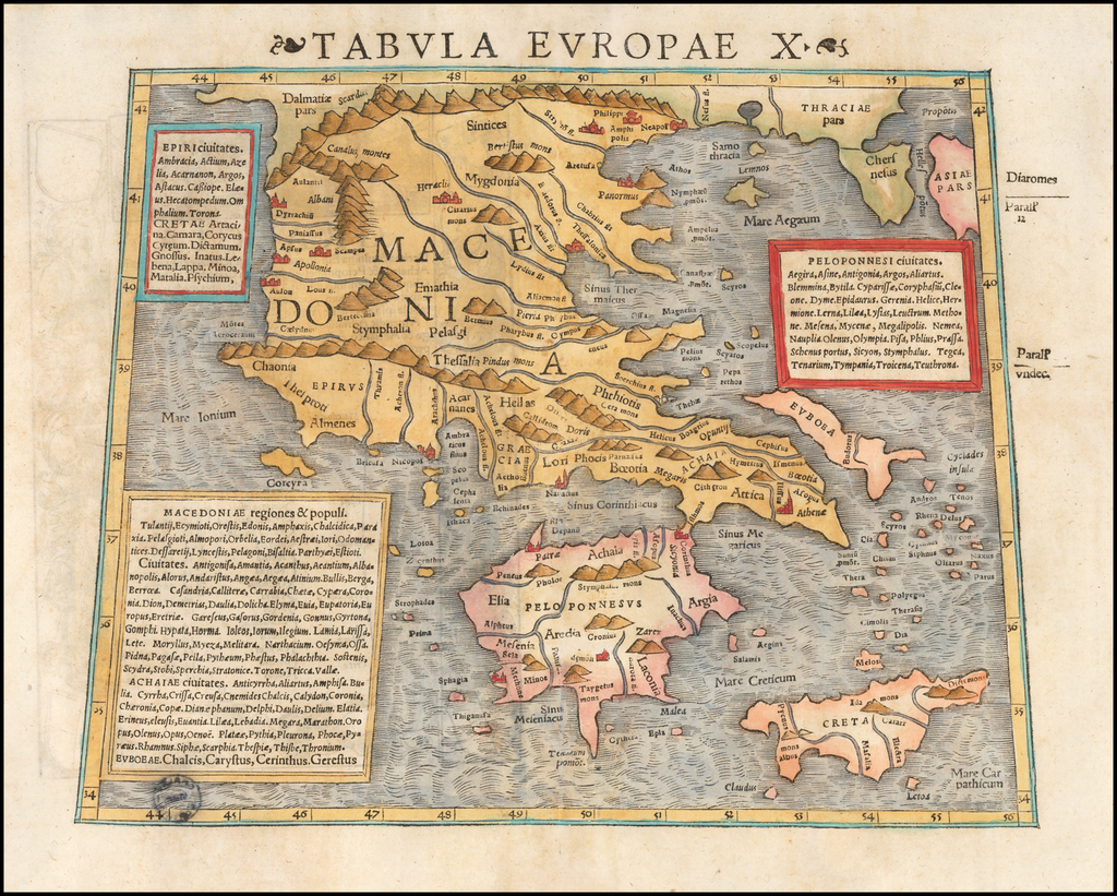 Tabula Europae X [Greece & Turkey] By Sebastian Münster